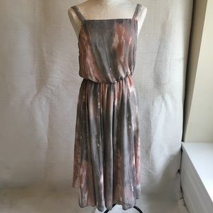 VTG French Vintage Watercolor Print Day Dress